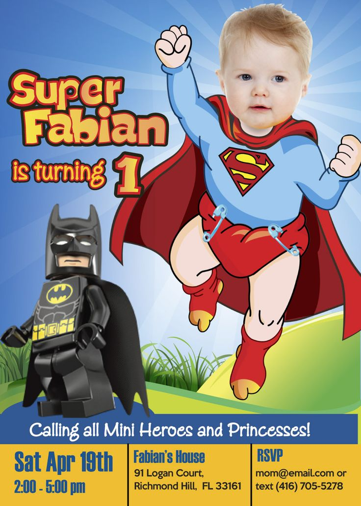 Baby Superman Invitation for his 1st Birthday. Surprise everyone with your kid as a Superman in his invitation. SUPERMAN vs BATMAN. #superman #batmanvssuperman #cartoons #supermaninvitations #1stbirthday #myheroathome   https://www.etsy.com/shop/MyHeroAtHome
