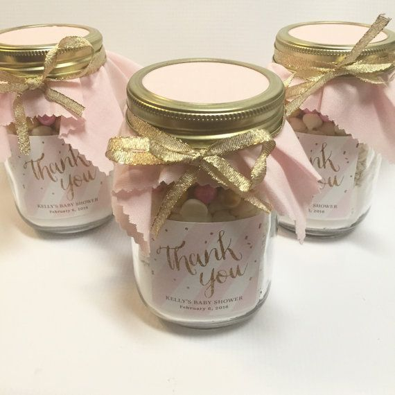 Pink and Gold Sparkle Stripped Mason Jar Cookie Mix by FabRustic