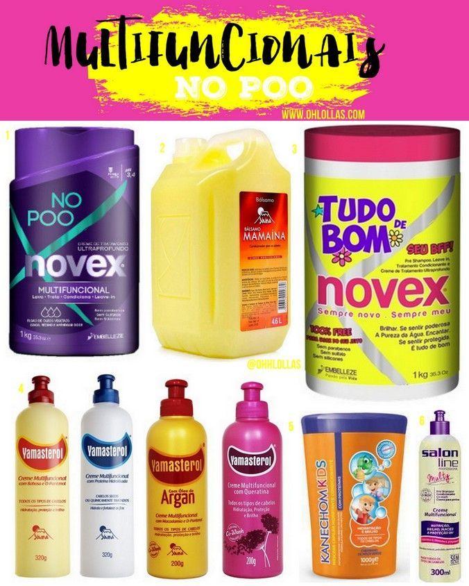 Lista de produtos liberados para no poo: condicionadores sem silicone e produtos específicos para co-wash. @ohlollas