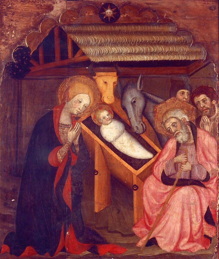 Pere Serra. Taula de la Nativitat, rpocedent d'un retaule de l'església de Sant Pere de Cubells, c.1400