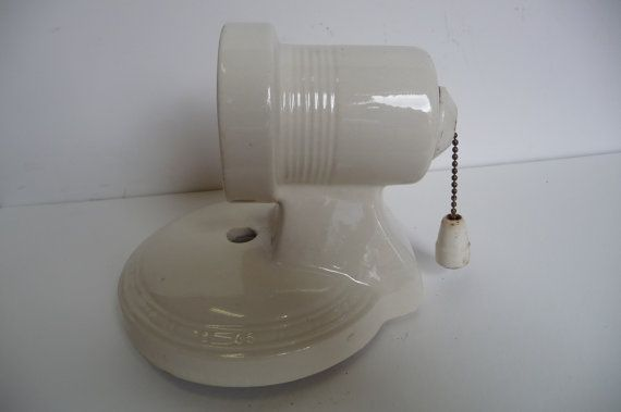 Bathroom Light Fixture With Outlet Plug: Antique Porcelain Light Fixture Bathroom Wall Sconce With
