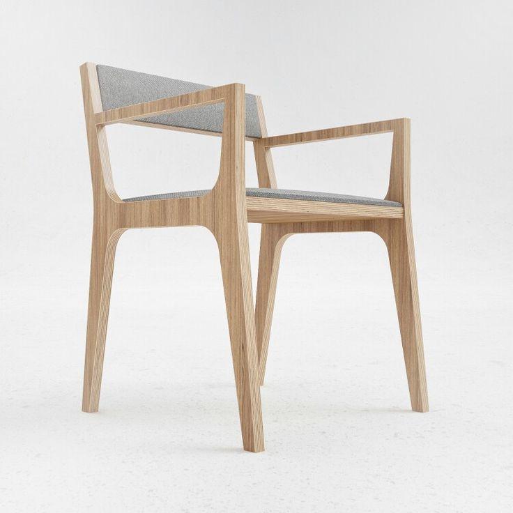 C2 Chair: oak plywood and felt.