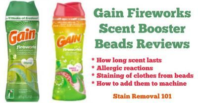 Gain Fireworks scent booster beads reviews, with positives and negatives discussed {on Stain Removal 101}