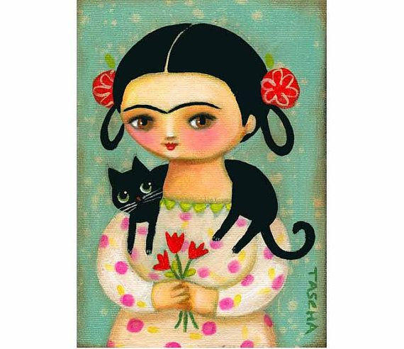 Frida Kahlo with black cat by Tascha~so cute for a little girls room!