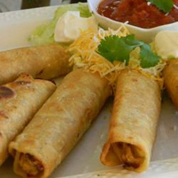 Crispy Flautas ~ Ingredients: 1 teaspoon vegetable oil, 1/2 green bell pepper chopped, 1/2 onion finely diced, 1 pound skinless boneless chicken breast cut into 1-inch pieces, 1 (1 ounce) package taco seasoning mix, 3/4 cup water, 1 (10 ounce) package corn tortillas (such as Ortega®), 1/2 cup shredded Cheddar cheese, 1 cup salsa, 24 toothpicks, 2 cups vegetable oil for frying.