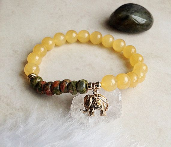 Lucky Elephant Bracelet - Yellow Jade and Unakite Bracelet by InnerFireJewelry $34  #luckyelephant #ganesh