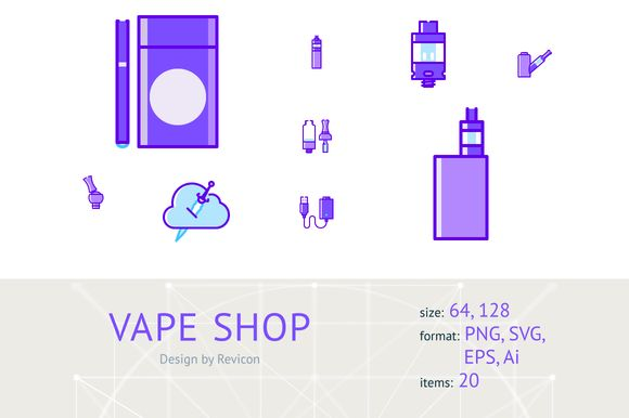 Vape shop (20 items) by Revicon on @creativemarket