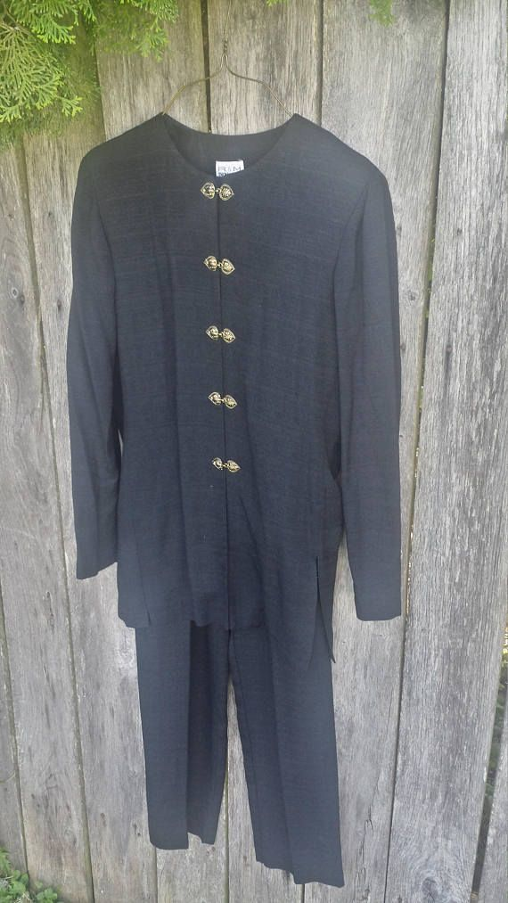 Black oriental style shirt and pants outfit/R&M Richards by