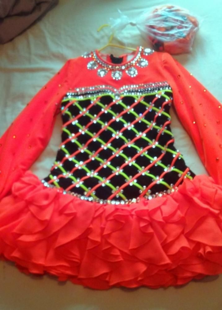 Lovely Orange Siopa Rince Irish Dance Dress Solo Costume For Sale