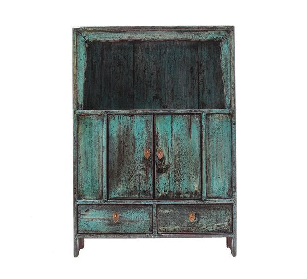 The Importer - Antique Blue Cabinet with shelves www.theimporter.co.nz