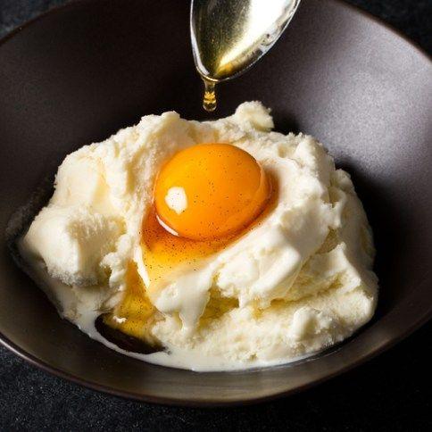 Salted Bourbon Caramel Cured Egg Yolks with Vanilla Ice Cream