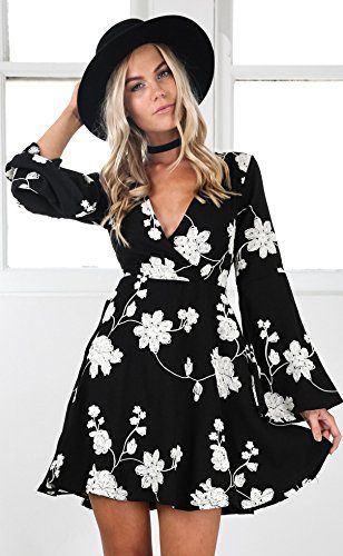 fcd4dbb78ede Young17 Flare Long Sleeve Boho Floral Printed Sexy V Neck Black Party Wrap  Skater Mini Women Dress. affiliate link