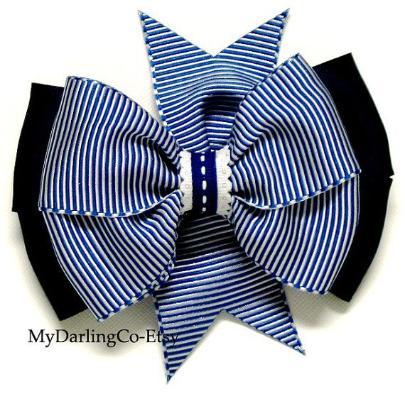 Hair BowsBlue Hair BowStriped Hair BowGirls by MyDarlingCompany