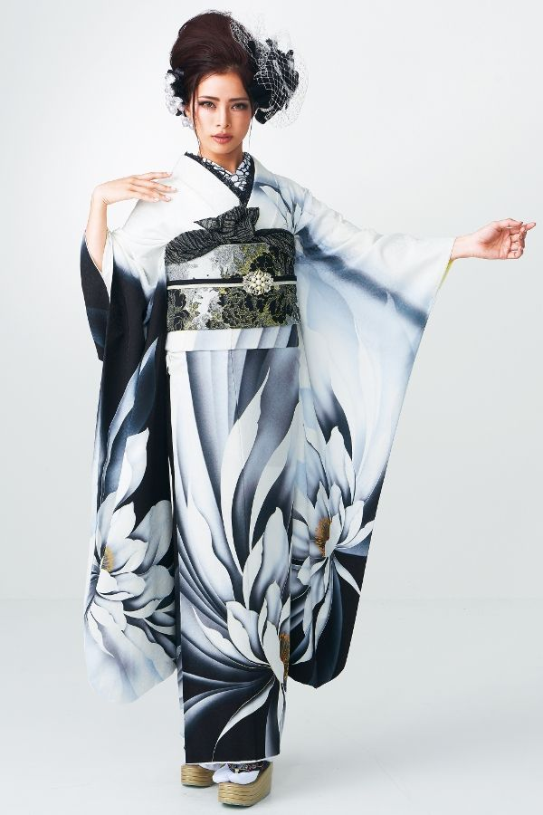 Sophisiticated Black and White Large Floral Print Furisode with a Black, Gold, and Silver Obi