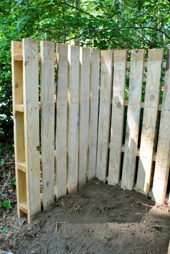 Wood pallets as fencing! cheap and easy!  Now if u make this think outside the box peps...stencil it, stain it, paint it, round the tops of boards...be creative & do it your way