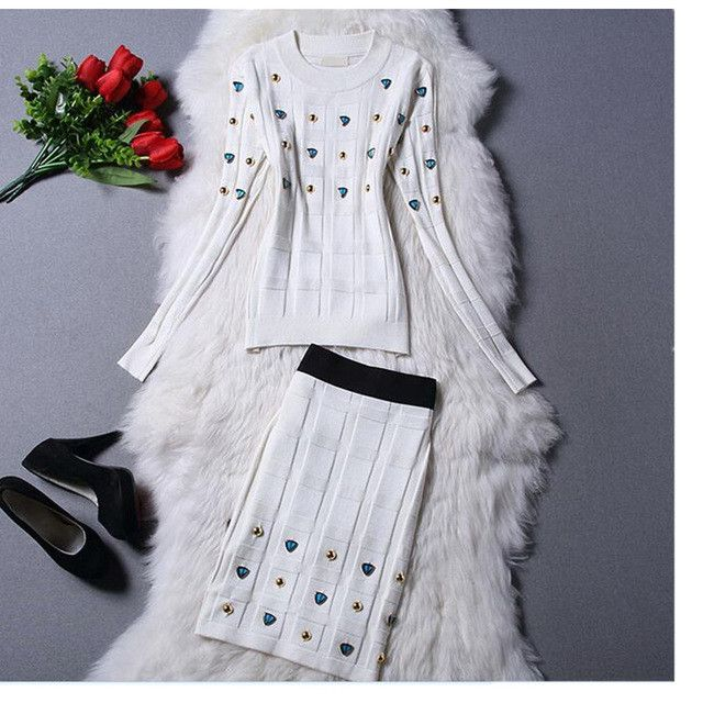Women Skirt Suits, Knitted Skirt Set, Bodycon Skirt Suit