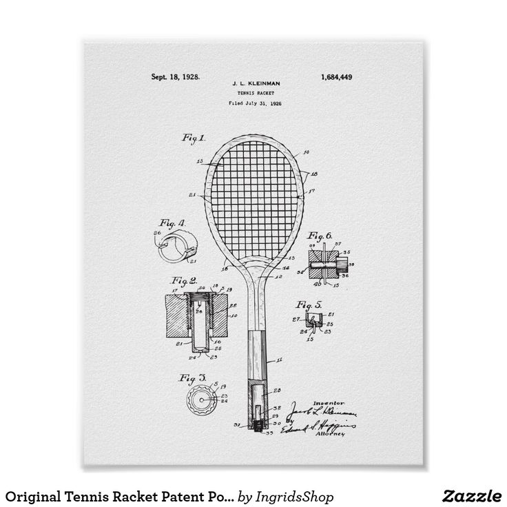 Original Tennis Racket Patent Poster - Vintage