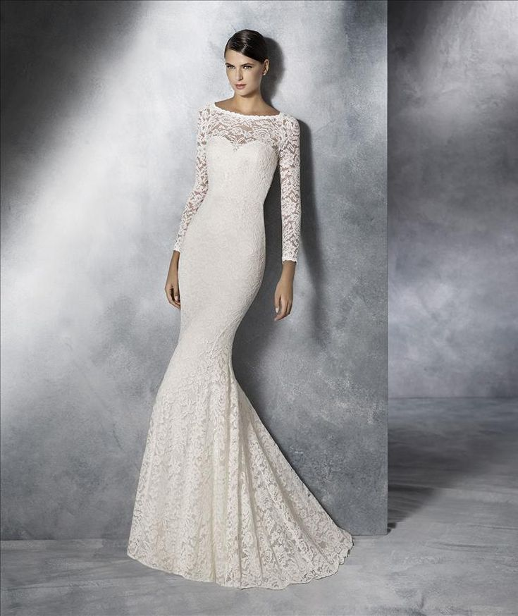 This has intricate lace that covers every inch of the dress, has stunning long sleeves and an open back. To see more of our dresses, follow us! @mycouturebridal