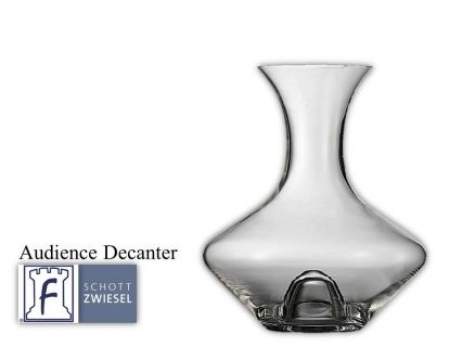 Audience Decanter  .75 L 25.3(oz) 10.8(H) 7.0(W)  Tritan crystal glass: non-lead material of titanium and zirconium oxide; resists breakage, chipping, scratching; thermal shock resistant; patented Red wine aerates as it flows down the sides in a beautiful pattern;  DISHWASHER SAFE will not etch, cloud or discolor for the life of the glass Made in Germany Product Code 0019.116496 SHIPPING IN CANADA ONLY!