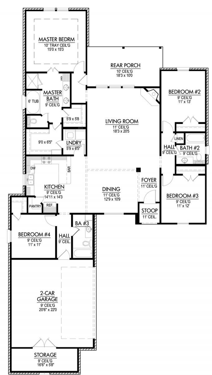 653643 four bedroom triple split house plan house plans floor plans