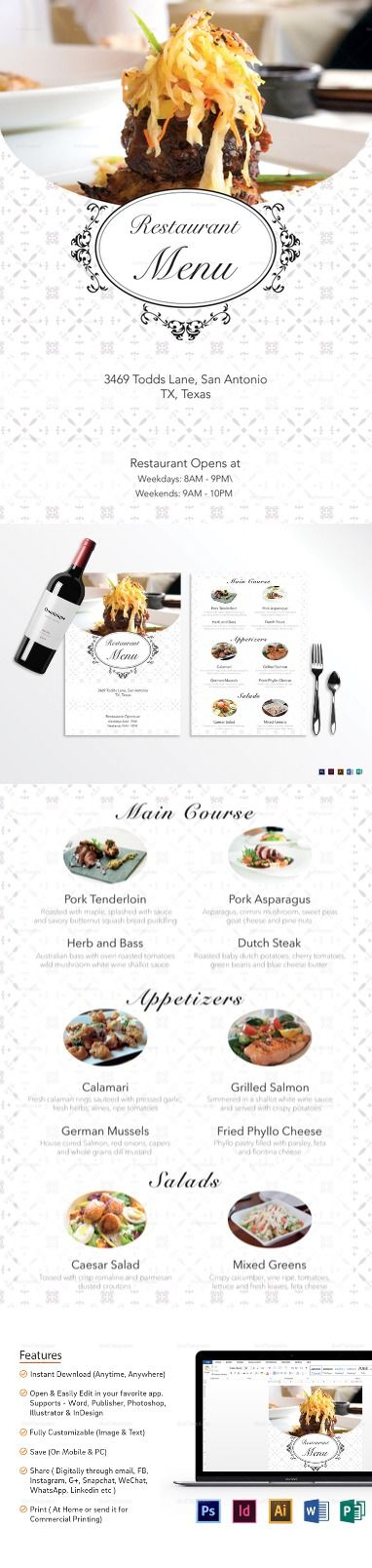 Best Menu Template Word Ideas On Yellowtail Steak  Cafe Menu Template Word
