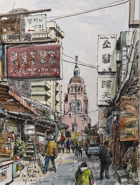 A view of one of Insa-dong's best-preserved alleys in 2012, by artist Yiang Jong-souk. / Courtesy of Yiang Jong-souk