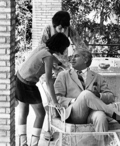 Zulfiqar Ali Bhutto, pictured relaxing in his home in Karachi with his two children, Sanan (14 years old) and Shahnawaz (10 years). (Photo b...