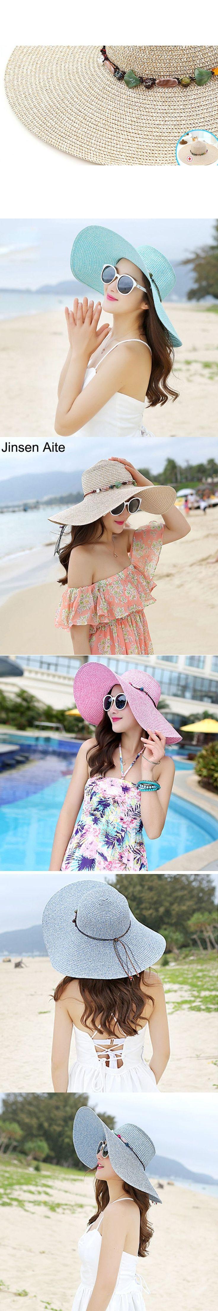 2017 New Fashion Beach Hats For Women Sun Hats Summer Big Brim Hat Woman Floppy Straw Hat Solid Outdoor Seaside Sombreros 1849 #BeachHatsForWomen