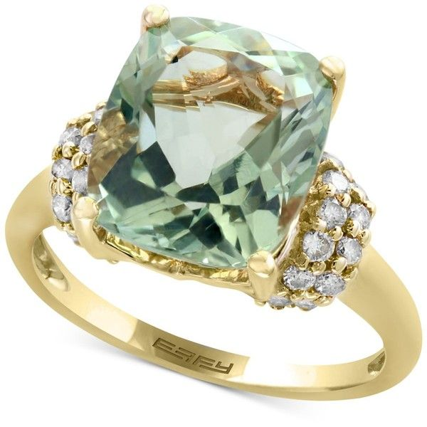 Effy Green Amethyst (5-1/4 ct. t.w.) and Diamond (3/8 ct. t.w.) Ring... ($1,602) ❤ liked on Polyvore featuring jewelry, rings, green, circle diamond rings, green amethyst ring, diamond rings, 14 karat gold ring and 14k gold ring