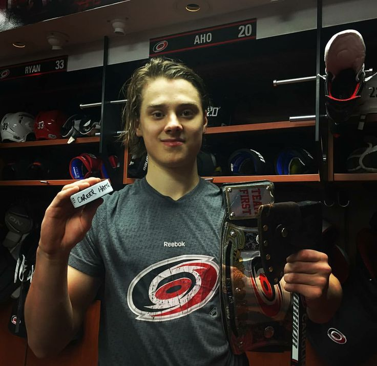 Sebastian Aho after his first career hat trick!