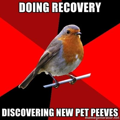 """[Image Description: Background is several triangles in a circle like a pie alternating from true red, scarlet and black. A robin is sitting on his perch looking to the right.Top Text: """"Doing recovery.""""Bottom Text: """"Discovering new pet peeves.""""]  This happens every night I close.  Since I'm a sales associate, I'm pretty much on the floor most of the night. After I finish returns or stock, I end up doing recovery which is basically fixing up the store.  I discover pet peeves every time I"""