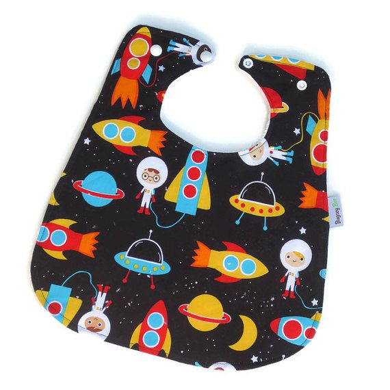 Bamboo Super Bibs for Baby or Toddler // Astronauts // Reversible Eco friendly with Snap Adjustment Large Bib Baby Bib Toddler Bib