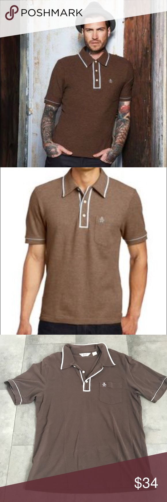 {original penguin} men's brown polo shirt! Original men's penguin brand brown polo shirt! Excellent condition! Size XXL. Retails for $69. Pit to pit is 22 in. Length is 32 in. Bundle and save! Original Penguin Shirts Polos