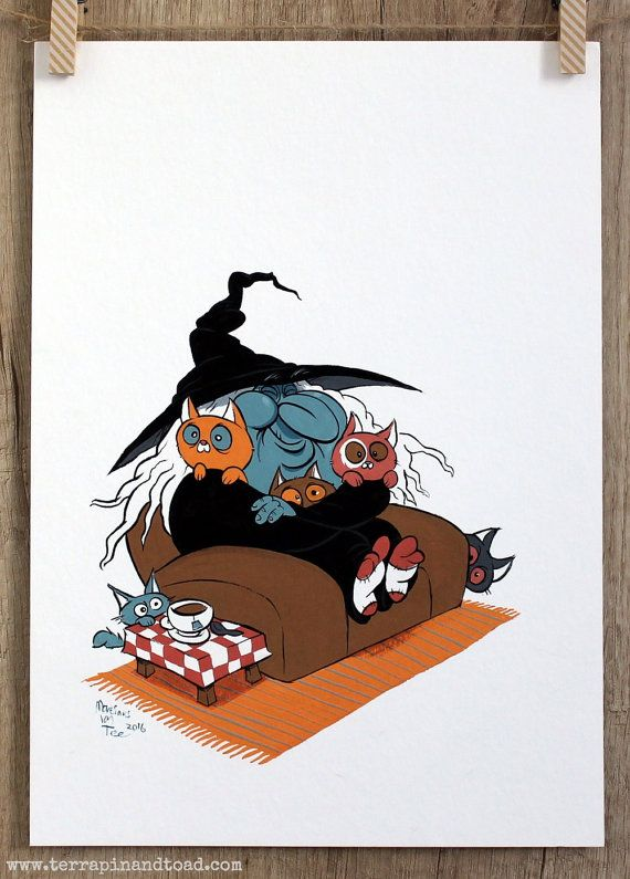Kittens a Cuppa and a Happy Witch Gouache by #TerrapinAndToad