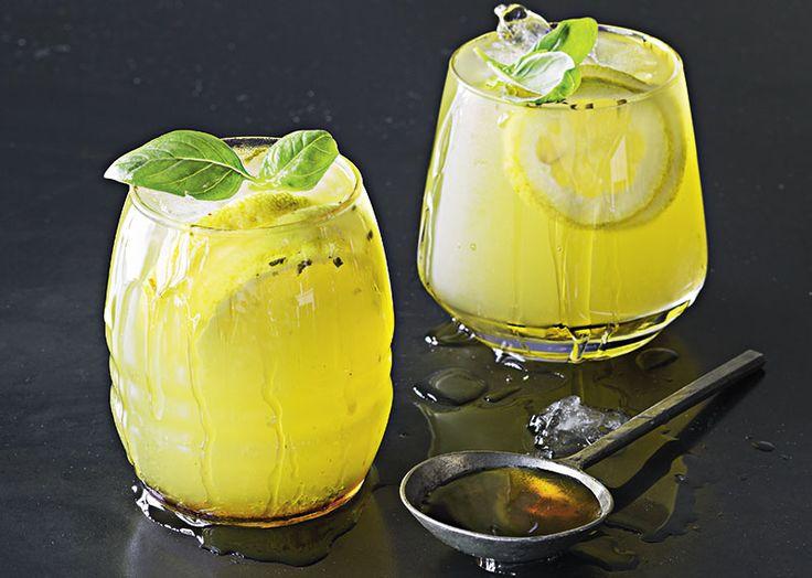 Maple, basil and lemon cooler