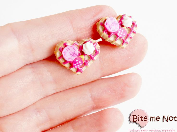 Strawberry waffles-mini food jewelry! -Silver plated stud earrings!