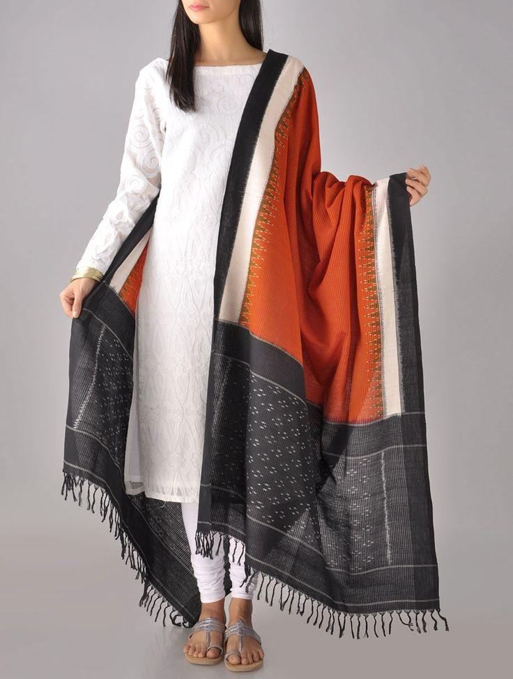 Buy Black Orange Tangerine Ikat Coton Dupatta Cotton Online at Jaypore.com