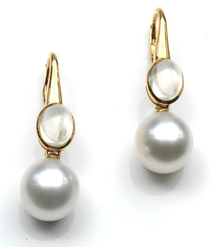 18k moonstone & pearl earrings, shop deleuse.com