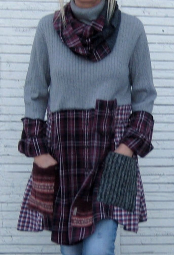 Sweater with flannel shirts as bottom and pockets made from other sweaters. Scary from flannel shirt.
