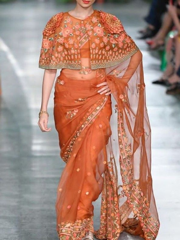 d20b43e1f3 Beautiful Organza weave silk Saree with cape blouse. Embellished with  embroidery.