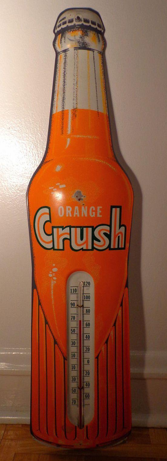 Orange Crush Antique Thermometer (Old 1960 Vintage Soda Pop Beverage Advertising Tin Litho Bottle Sign)