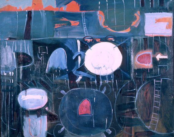 "Wieland, ""Cityscape,"" 1960, Canada Council Art Bank. #ArtCanInstitute"