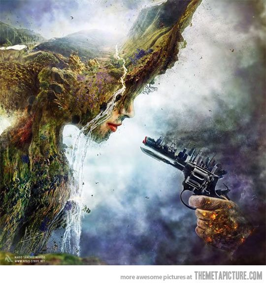 Humans vs. Nature…  kinda reminds me of Princess Mononoke