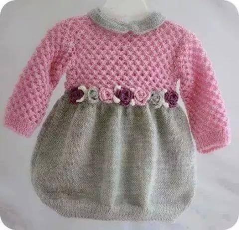 Pembe gri örgü elbise modeli