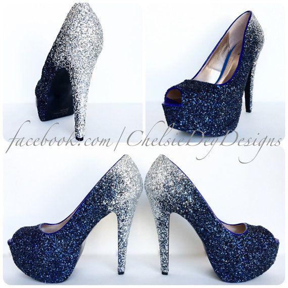 Glitter High Heels Silver Navy Blue Pumps by ChelsieDeyDesigns