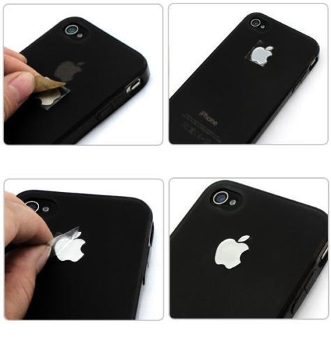 2xsilver apple metal look logo sticker decal for apple iphone 5s 5 5c iphone 4s