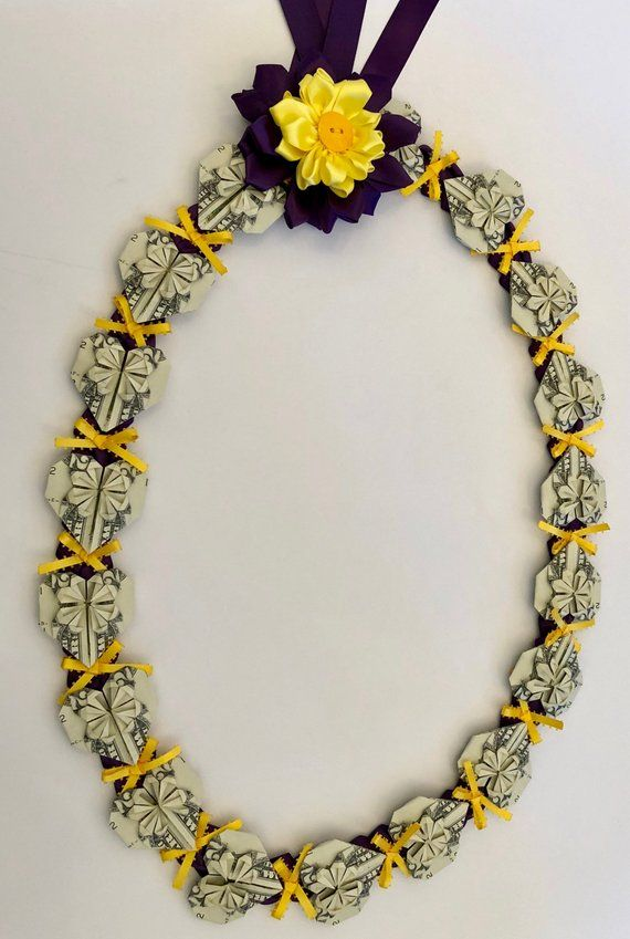 Graduation Wedding Birthday Hawaiian Money Lei – Origami Heart Shape | Make to order
