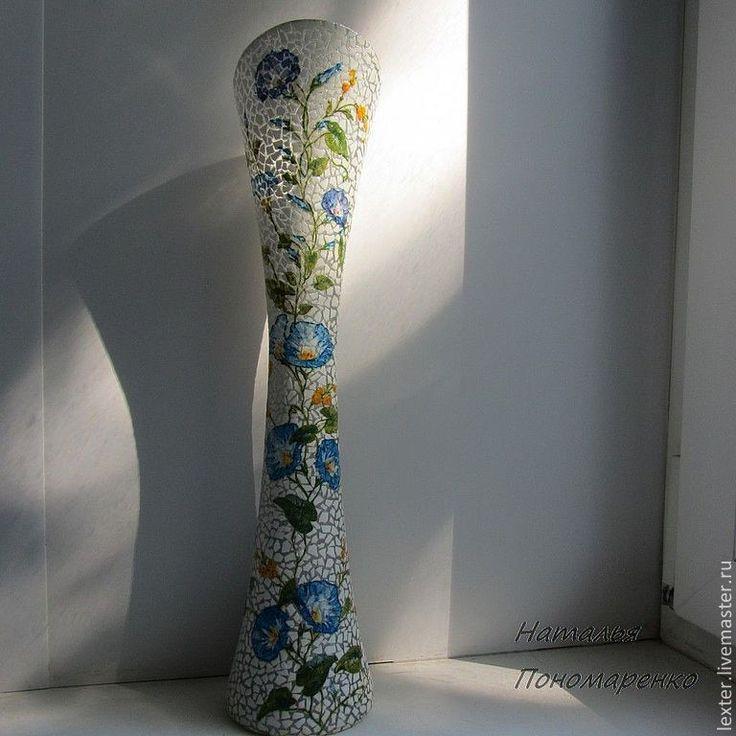 Купить Вазы ручной работы. Стеклянная ваза Голубой вьюнок - голубой, белый цвет, серебряный