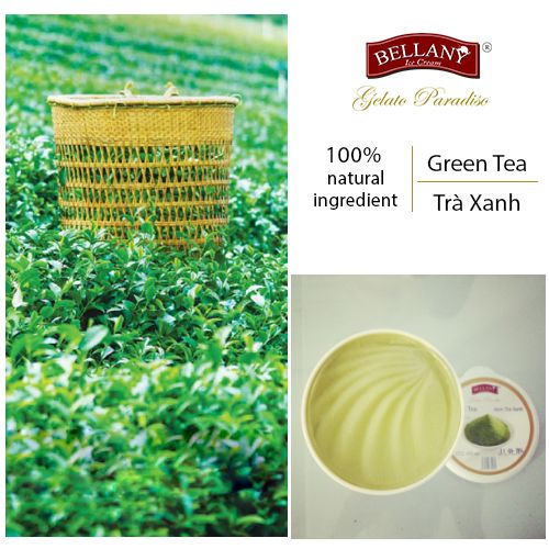 Reveal delicious and creamy Bellany Green Tea ice cream. It is made from the pure Central Vietnam green tea leaves, Japanese matcha tea leaves decoction on milk base of Bellany.  #bellanyicecream, #greenteaicecream, #kemtraxanh, #bellany