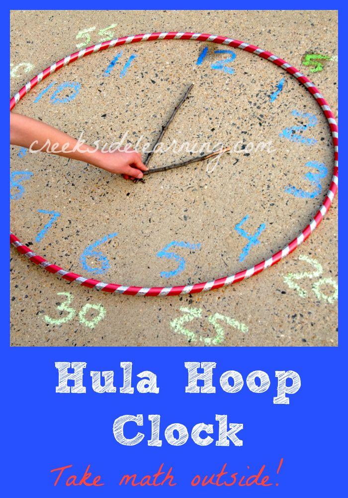 Take math outside! Make a Hula Hoop Clock. #math #summerlearning
